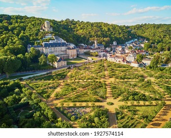 Scenic aerial view of La Roche-Guyon, one of the most beautiful villages in France
