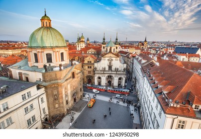 Scenic aerial view over Crusaders church and Clementinum in Prague, Czech republic, at daytime. Beautiful travel background.