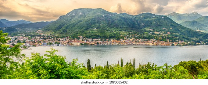 Scenic aerial view over the Town of Salo, on the Lake Garda, Italy