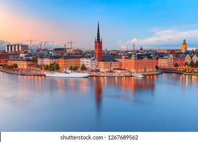 Scenic aerial view of Riddarholmen, Gamla Stan, in the Old Town in Stockholm at sunset, capital of Sweden