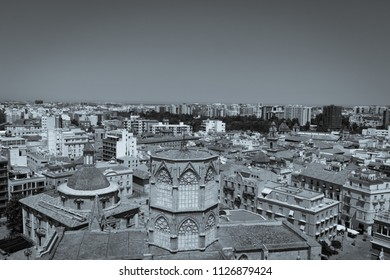 "Scenic aerial view of Valencia old town, rooftops and skyline from ""El Miguelete"", Cathedral bell tower. Spain. Vintage preset."