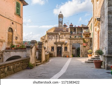 Scenic afternoon sight in Sorano, in the Province of Grosseto, Tuscany (Toscana), Italy.