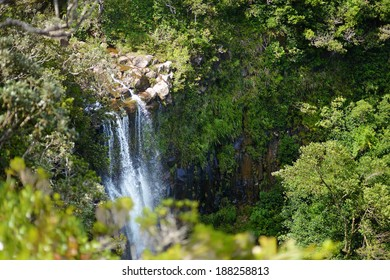 Scenic Alexandra falls in jungle of Mauritius island