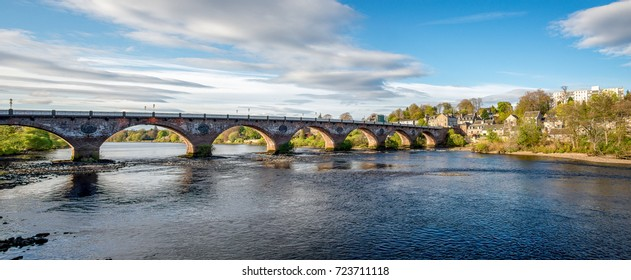 Scenic arched West Bridge across River Tay in Perth city, Scotland