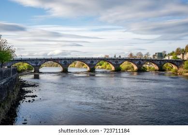 Scenic arched West Bridge across River Tay in Perth, Scotland