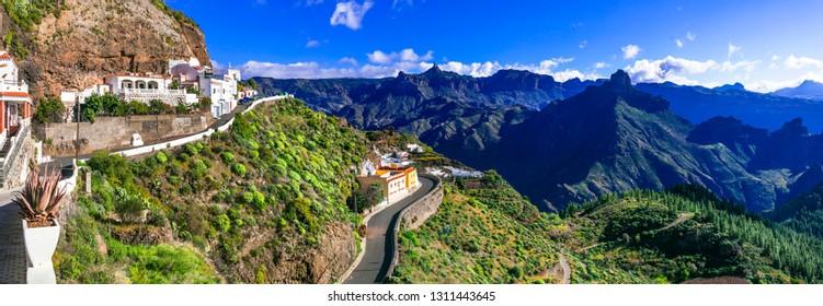 scenic Artenara  - Gran Canaria's highest mountain village. Grand Canary, Canary islands of Spain