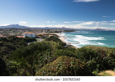 scenic atlantic coastline in sunny blue sky in bidart, basque country, france