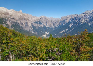 Scenic autumn landscape in the Albanian Alps (Prokletije or Accursed Mountains). Nature and travel. Albania, Shkoder County, near Theth National Park