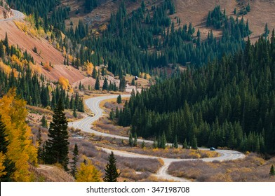 Scenic autumn landscape by Million dollar high way in Colorado