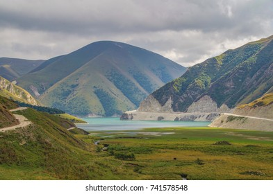 Scenic autumn landscape of deepest highland lake in the Caucasus Mountains. Height 1870 m above sea level. Nature and travel. Russia, North Caucasus, on border of Chechnya and Dagestan, lake Kezenoyam