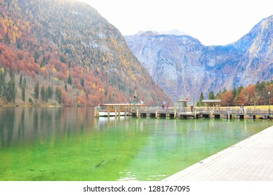 Scenic Autumn leafs in Koenig See Germany