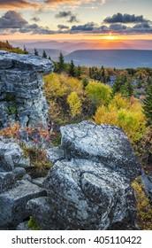 Scenic autumn sunrise, Bear Rocks, West Virginia