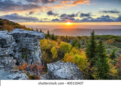 Scenic autumn sunrise, Bear Rocks, West Virginia