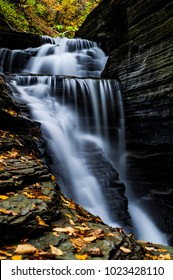 A scenic, autumn view of Bridal Veil Falls within the Havana Glen near Watkins Glen and Montour Falls, New York.