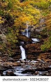 A scenic, autumn view of Deckertown Falls near Watkins Glen and Montour Falls, New York.