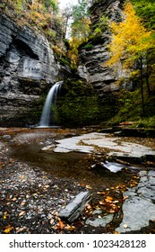 A scenic, autumn view of Eagle Cliff Falls within the Havana Glen near Watkins Glen and Montour Falls, New York.