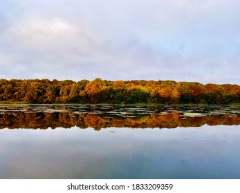 Scenic autumn view of forest over the lake. A wide variety of colors in the trees from bright yellow to brown. Panorama taken at Bygholm Park in Horsens, Denmark.