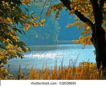Scenic autumn view of Lake Norman, near Charlotte in North Carolina