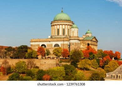 Scenic autumn view on Basilica of the Blessed Virgin Mary in Esztergom, Hungary.