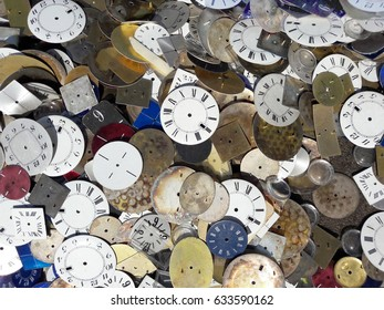 Scenic background with clock faces