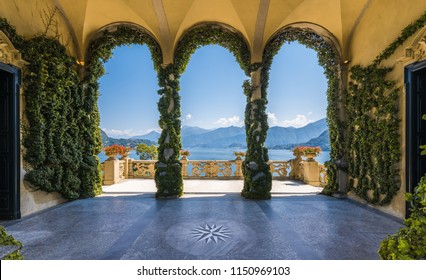 Scenic balcony overlooking Lake Como in the famous Villa del Balbianello, in the comune of Lenno. Lombardy, Italy. July-18-2018