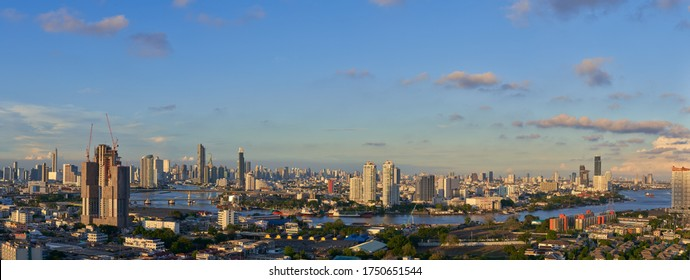 scenic of bangkok panorama cityscape view of chaopraya river and blue sky