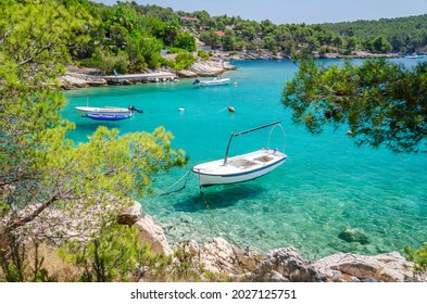 Scenic bay with rocky beaches nearby Milna on the south-west coast of Brac island in Croatia
