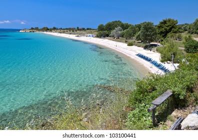 Scenic beach of Agios Ioannis at Halkidiki in Greece
