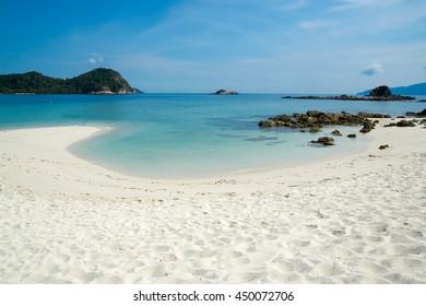 A scenic beach on an island off Johor Malaysia