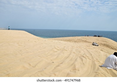 Scenic beauty of sand dunes descending into the sea, an ideal place for camping