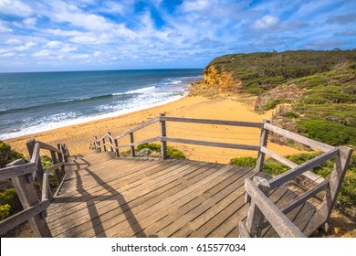 Scenic Bells Beach of the movie Point Break, near Torquay, gateway to the Surf Coast of Victoria, Australia, here starts the Great Ocean Road. this reserve includes Bells Southside and beaches.