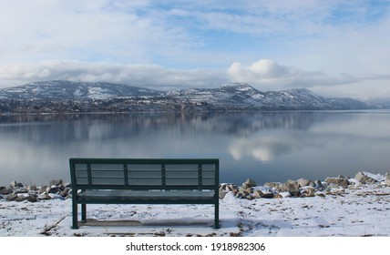Scenic bench close to the lake