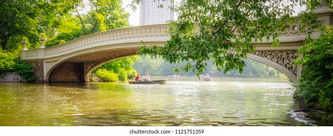 Scenic bridge in Central Park on a sunny day, Manhattan, New York City, USA