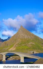 Scenic bridges on Lofoten islands in Norway connecting islands of Flakstadoya and Moskenesoya