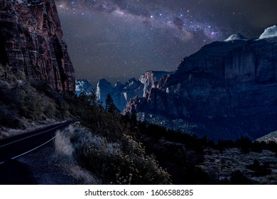 Scenic byway route 9 in Zion National Park at night near Springdale, Utah USA.