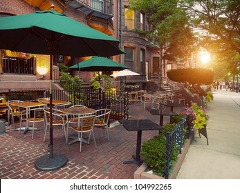 Scenic Cafe Terraces in Newbury Street, located in the Back Bay area of Boston, Massachusetts, USA. It is touted as one the most expensive streets in the world.