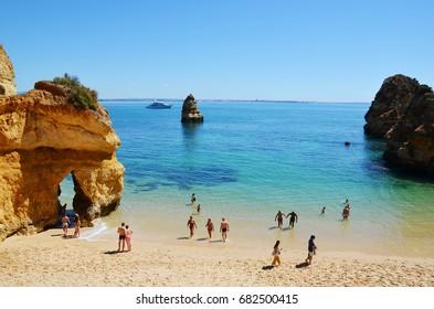 Scenic Camilo Beach (Praia do Camilo) at Algarve, Portugal with turquoise sea in background