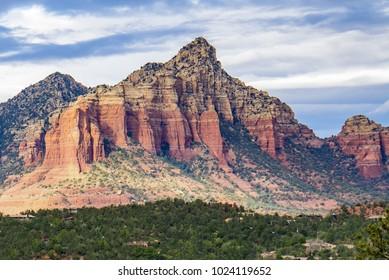 Scenic Cathedral Rock formation at Oak Creek in Sedona Arizona
