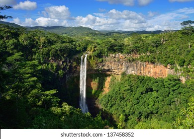 Scenic Chamarel falls in junle of Mauritius island