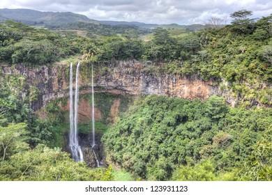 Scenic Chamarel falls in Mauritius
