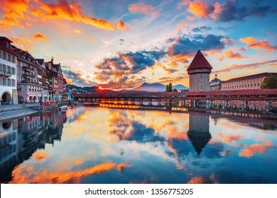 Scenic city center view of Lucerne with famous Chapel Bridge and lake Lucerne (Vierwaldstattersee), Canton of Lucerne, Switzerland
