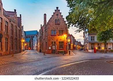 Scenic cityscape with a medieval fairytale town at night in Bruges, Belgium