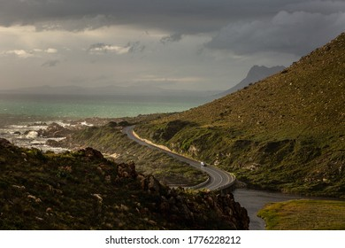 Scenic Clarence drive, close to Rooi-Els. Moody sky and ocean