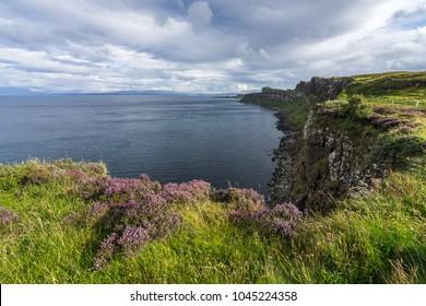 Scenic cliffs near Kilt Rock on the Trotternish Peninsula, Isle of Skye, Scotland, Britain