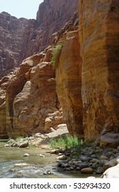 Scenic cliffs of Wadi Mujib creek in Jordan