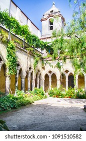 The scenic cloister of San Francesco d'Assisi Church in Sorrento, Italy