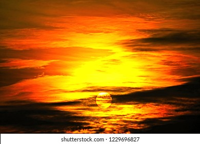 scenic cloud scape with brightness sky by sunlight when sun setting in cloudy sky over horizon in close up and minimal style so beautiful outdoor pattern for abstract nature background