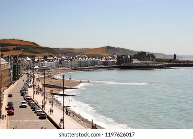 Scenic Coast of Aberystwyth in North Wales, UK in Autumn