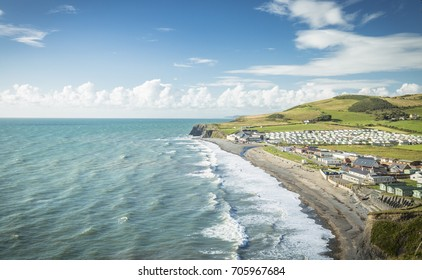 Scenic Coast of Aberystwyth in North Wales, UK