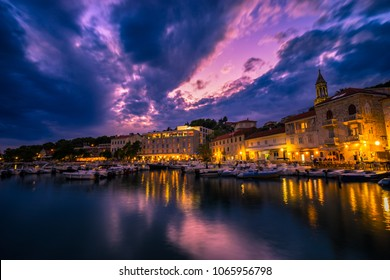 Scenic coast of town Hvar at dusk, Dalmatia, Croatia